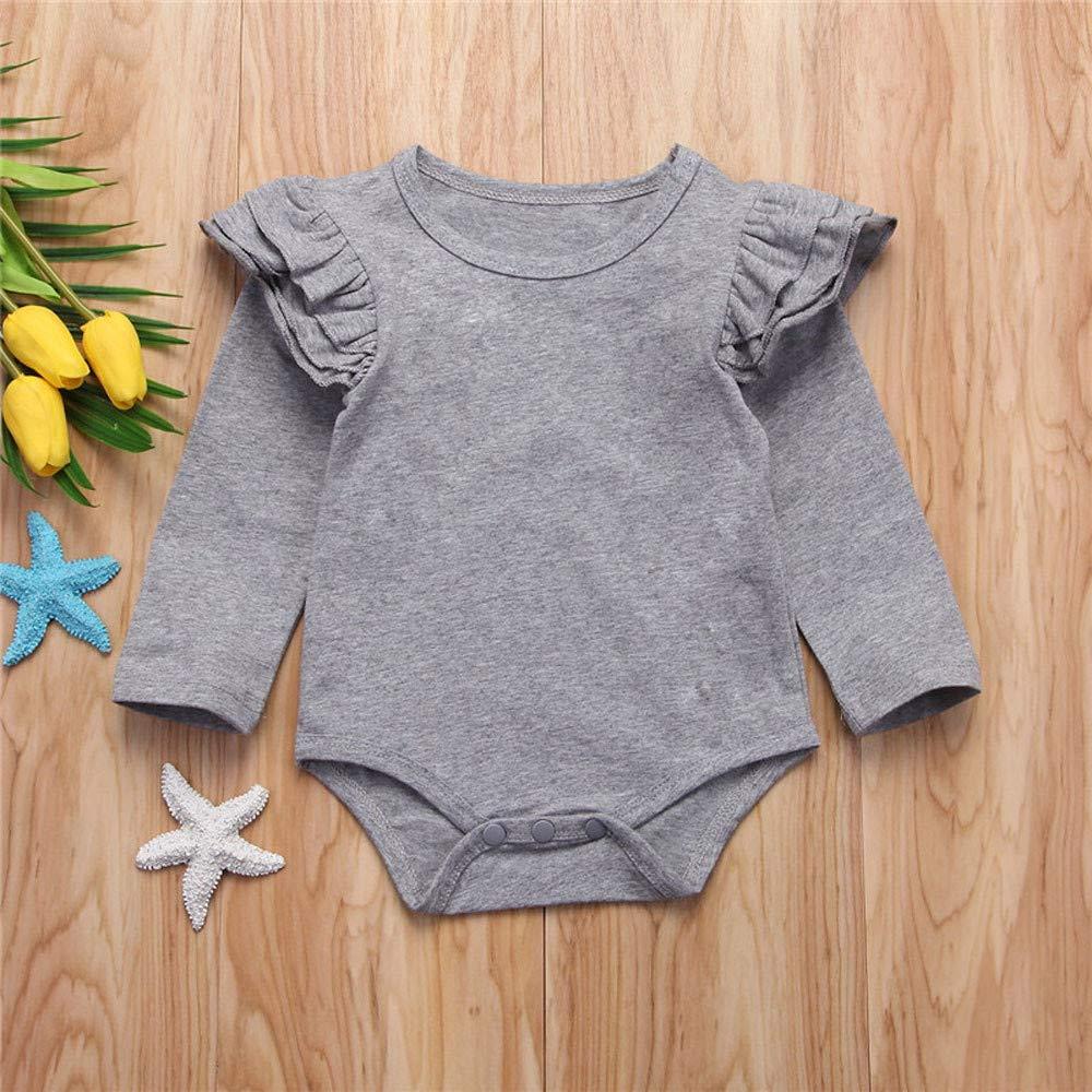 Matoen Newborn Infant Baby Boys Girls Solid Ruffle Ruffled Flying Sleeves Romper