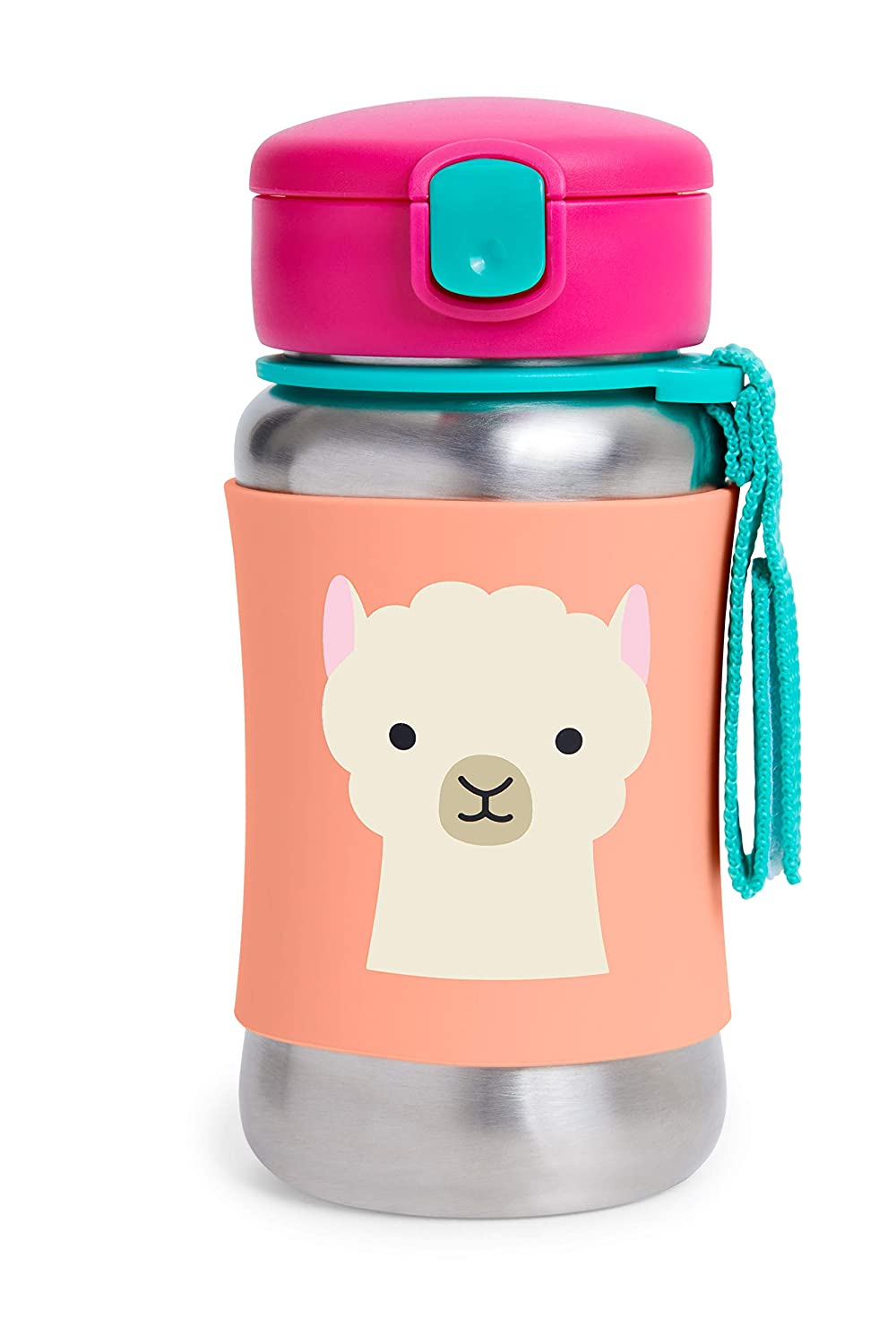 Skip Hop Toddler Sippy Cup Transition Bottle: Stainless Steel Bottle with Straw, Llama