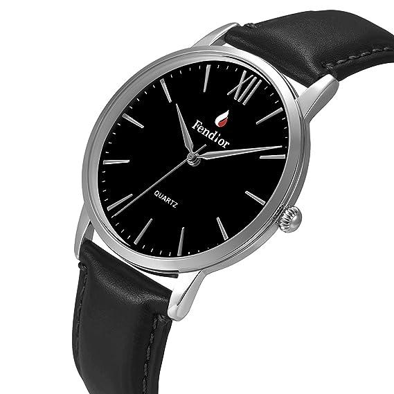 AIBI hombres Retro correa de cuero negro relojes de cuarzo: Amazon.es: Relojes