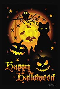Toland Home Garden Scary Halloween 28 x 40 Inch Decorative Spooky Cat Pumpkin House Flag - 1010561