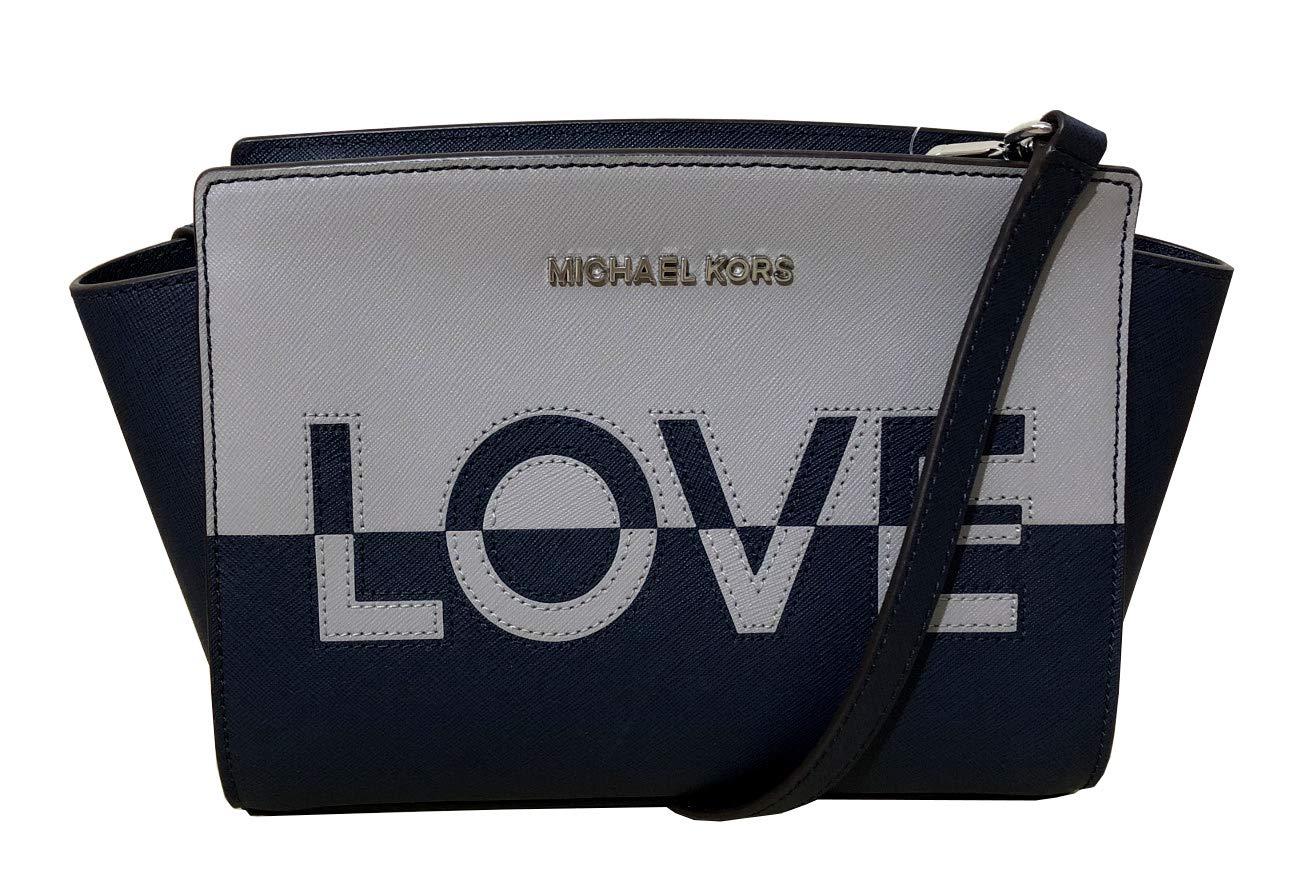 Michael Kors Selma Medium Love Saffiano Leather Satchel (Ash Grey/Multi)