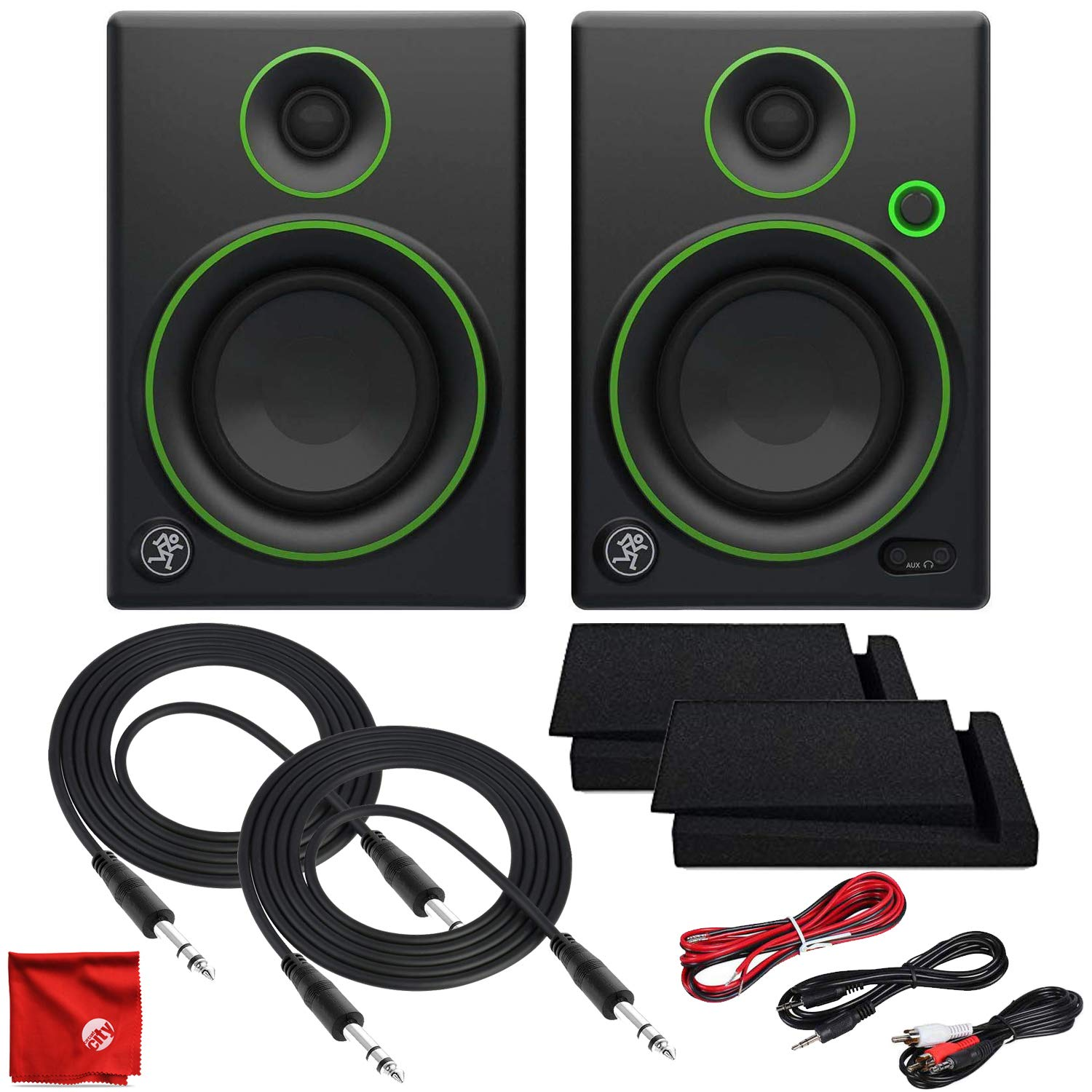 Mackie CR4 4-Inch Creative Reference Multimedia Monitors with Foam Isolation Pads and 2X 10ft TRS Cables