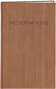 """BookFactory Restaurant Reservations Book, 365 Day Table Reservations, Dinner Reservations Book, 408 Pages 8 7/8"""" x 13 1/2"""", Soft Touch Wood Finish Cover Case Bound (LOG-408-OCS-AXE94000(Reservations))"""