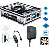 Miuzei Raspberry Pi 4 Case with 5V 3A USB-C Power Supply, Cooling Fan, 3× Heat-Sinks for Raspberry Pi 4 Model B (Pi 4 Board Not Included)