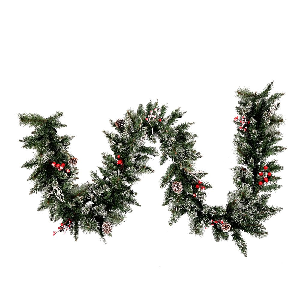 Vickerman Snow-Tipped Pine/Berry Garland-Unlit, 9-Feet, Frosted