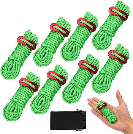 BHGWR 8 Piezas de Cuerdas Reflectantes para Tienda, Pautas de la Tienda Cordón con tensores de Aluminio, Cuerda de Tienda Verde de 13 pies Ideal para ...