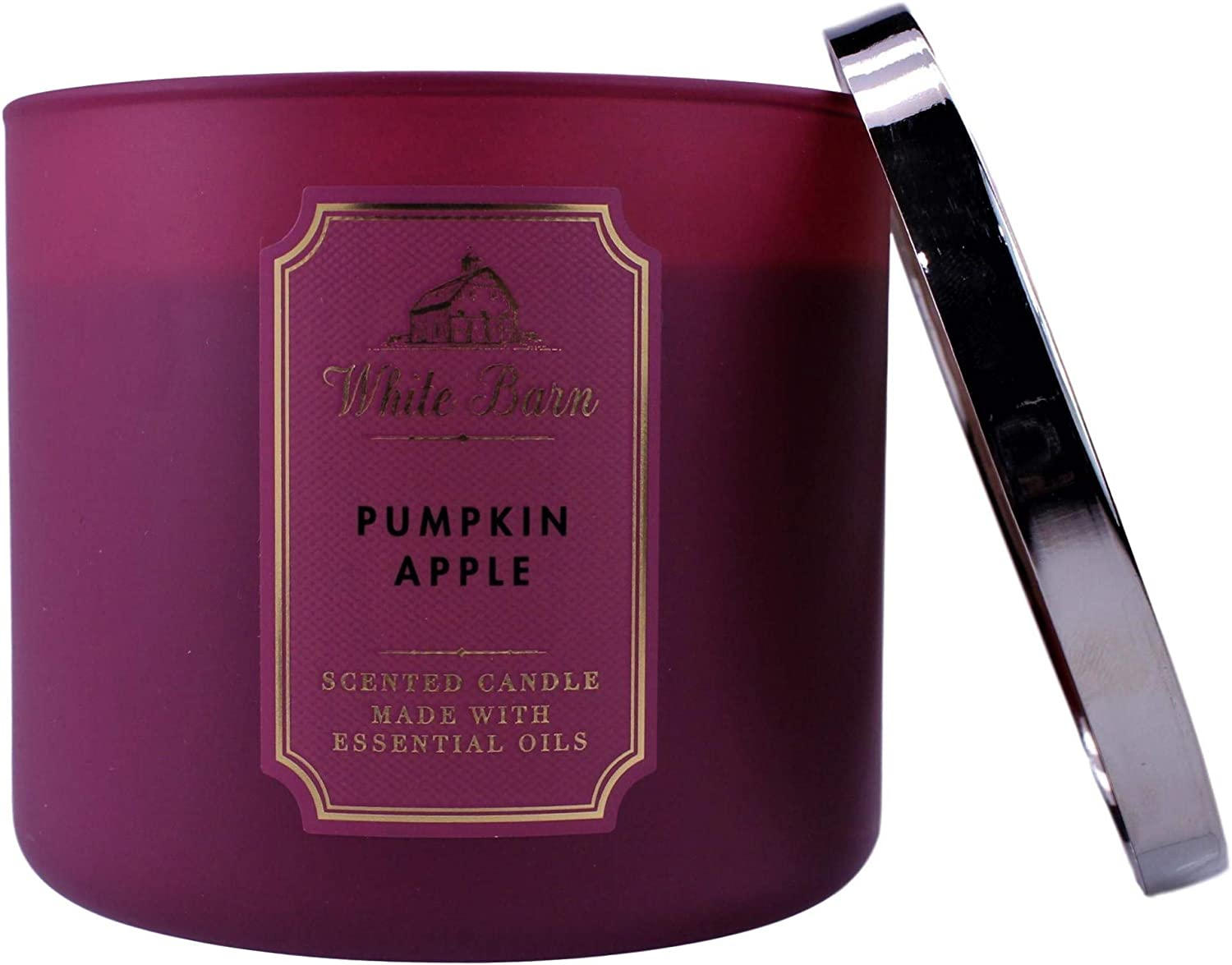 2020 White Barn Bath 3 Wick Candle in Pumpkin Apple (Red Apple, Pumpkin, Cinnamon, Clove Buds) Made W Essential Oils w Burn Time of 25-45 Hours