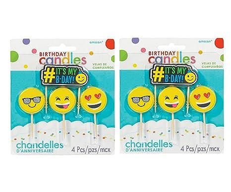 Amazon.com: Amscan Emoji Pick Candle Set 4 ct, (2 Pack ...