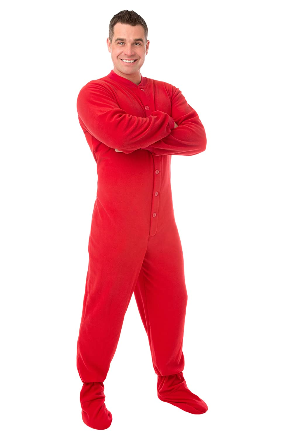Big Feet PJs Red Micro-polar Fleece Adult Footed Pajamas w/ Drop ...