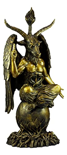 Ebros Gold Tone 3 Feet Oversized Church of Satan Sabbatic Goat Baphomet Statue Satanic Occultic Idol Sigil Sculptural Wonder