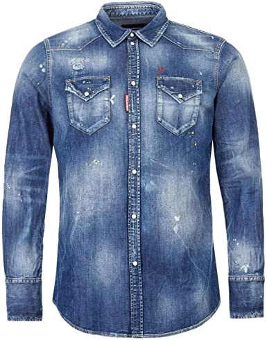 Dsquared2 - Camisa vaquera desteñida, color azul: Amazon.es: Ropa