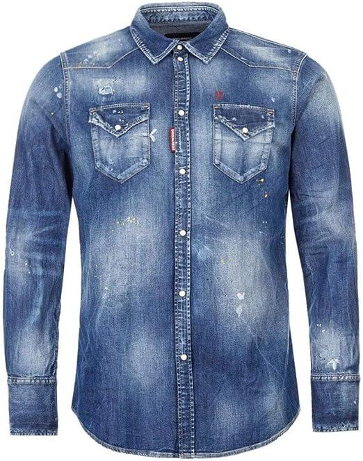 Dsquared2 - Camisa vaquera desteñida, color azul: Amazon.es ...