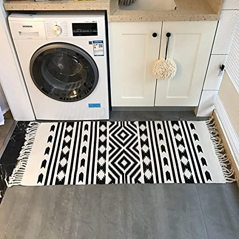 Ukeler Laundry Room Rug Kitchen Rugs Home Tassels Decor Durable Black And White Cotton Rug Handmade Floor Rugs For Laundry Bathroom Entry