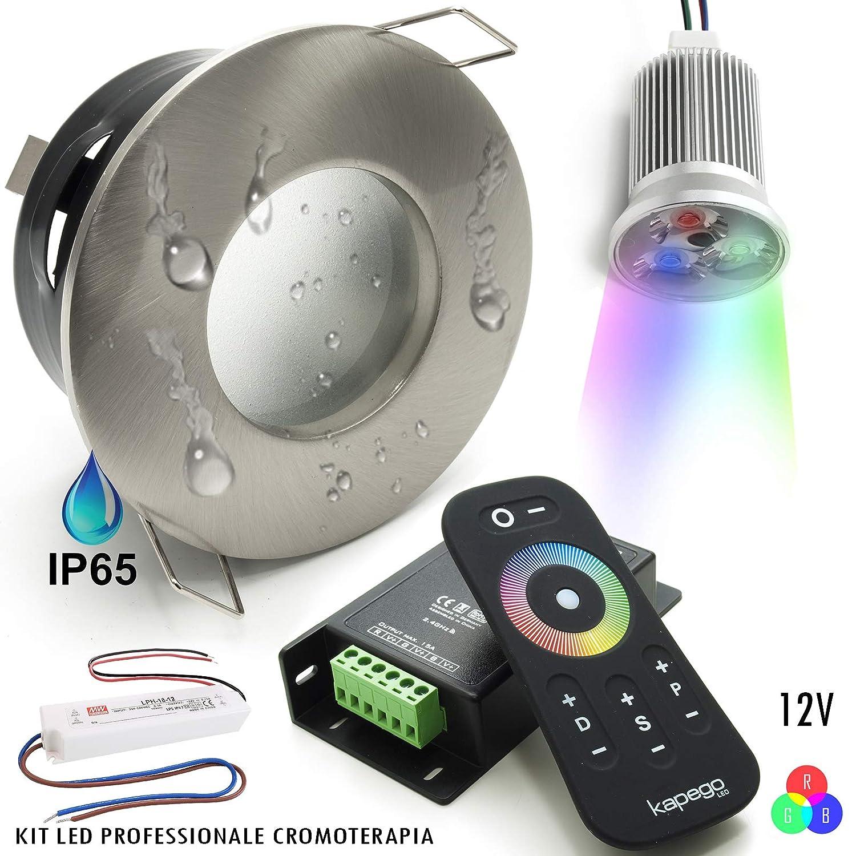 Kit 2pz faretti led 18W incasso cromoterapia luce bagno box doccia IP65 RGB 12V