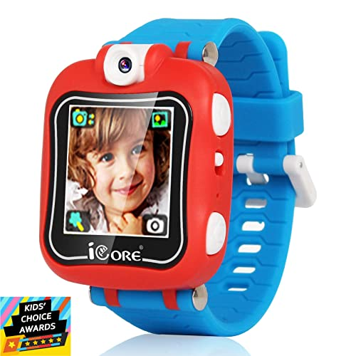 iCore Electronics S2 Kids Smartwatch red with a blue wristband