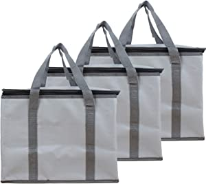 ZOBAYOP Insulated Bag for Grocery Shopping Food Transport 16x9x13in Leakproof Carrying Bags Gray 3 Pack