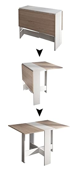 Amazon Table De Cuisine.Symbiosis 2050a2134x00 Contemporain Table Pliante Avec 2 Abattants Blanc Chene Naturel 103 X 76 X 73 4 Cm