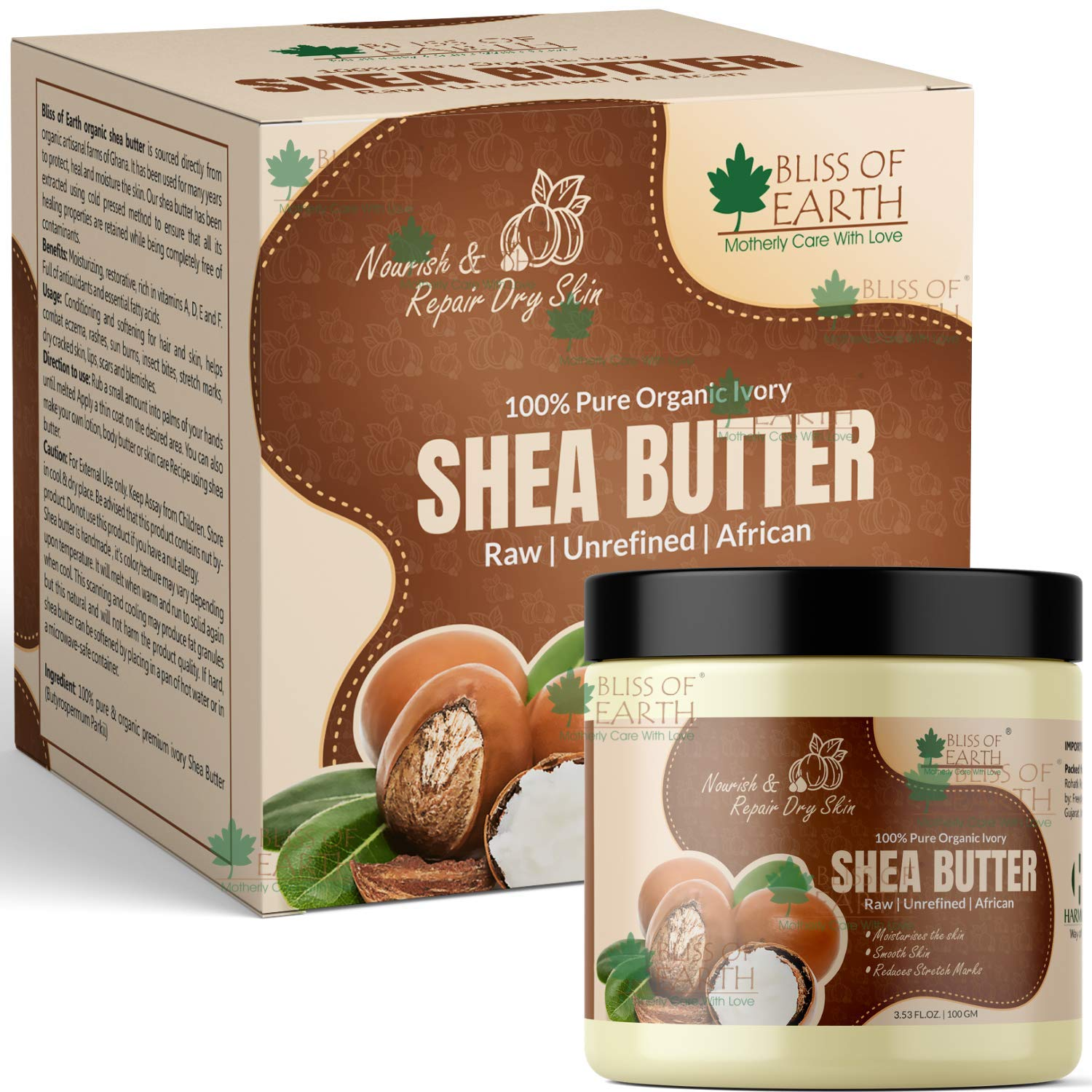 Bliss of Earth® 100% Pure Organic Ivory Shea Butter | Raw | Unrefined | African | 100GM | Great For Face, Skin, Body, Lips, DIY products|