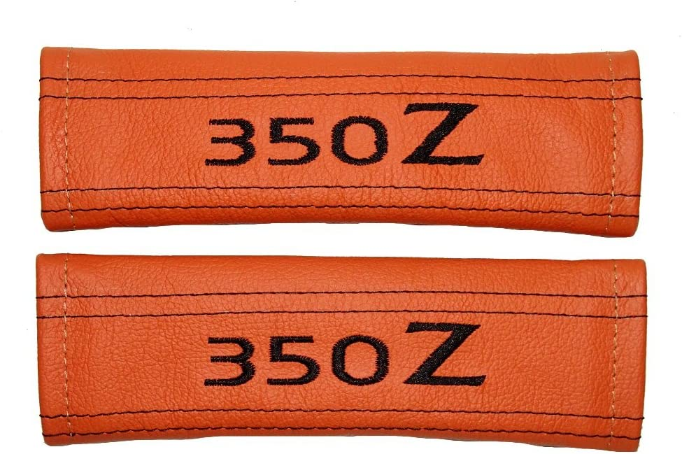 2 x Seat Belt Covers Pads Orange Leather 350z Black Embroidery