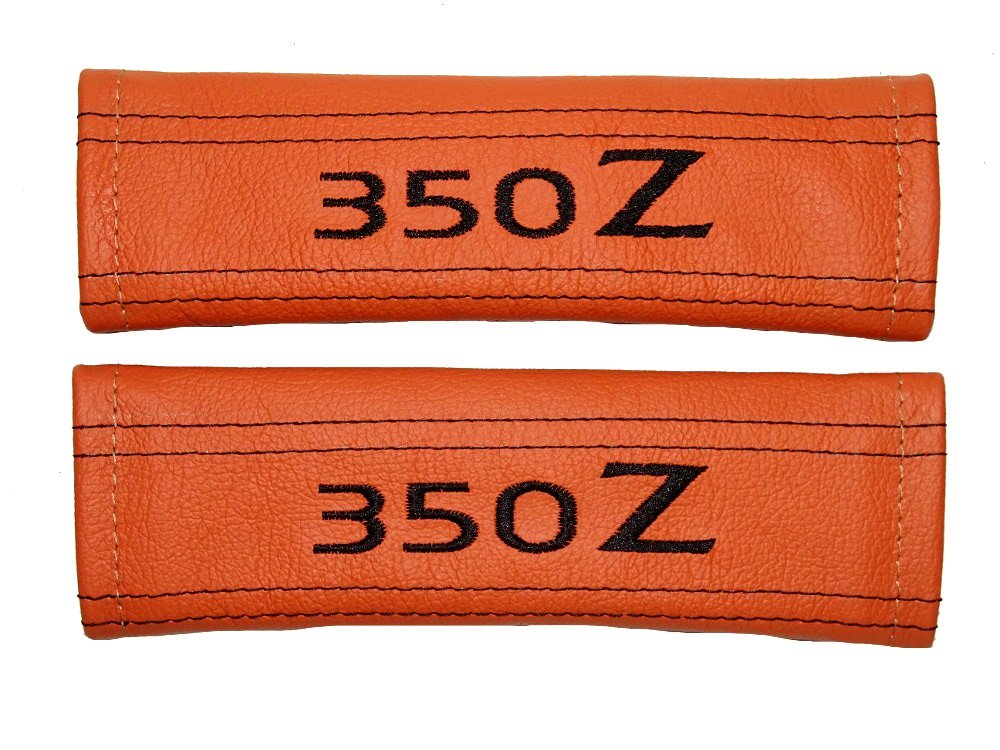 2 x Seat Belt Covers Pads Orange Leather '350z' Black Embroidery The Tuning-Shop Ltd