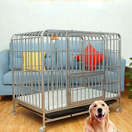 QNMM Jaula para Perros Mascota Caja De Metal Plegable Fuerte Resistente Y Jaula para Perros Grandes, Corral para Mascotas Fácil De Montar para Perros Medianos Y Grandes con Doble Puerta con Cuatro: