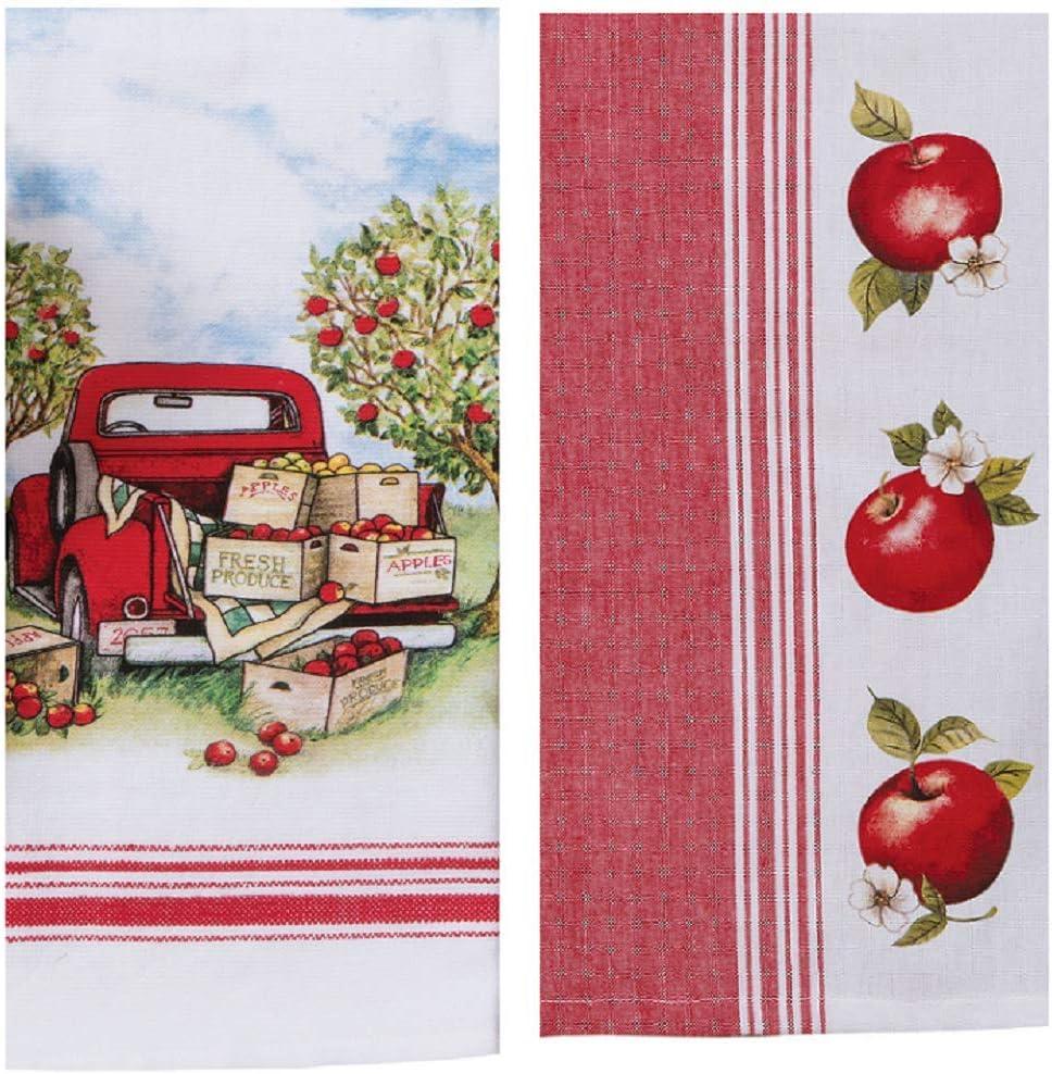 Apple Picking Vintage Themed Kitchen Towel Bundle of 2, Dual Purpose Towel and Jacquard Tea Towel