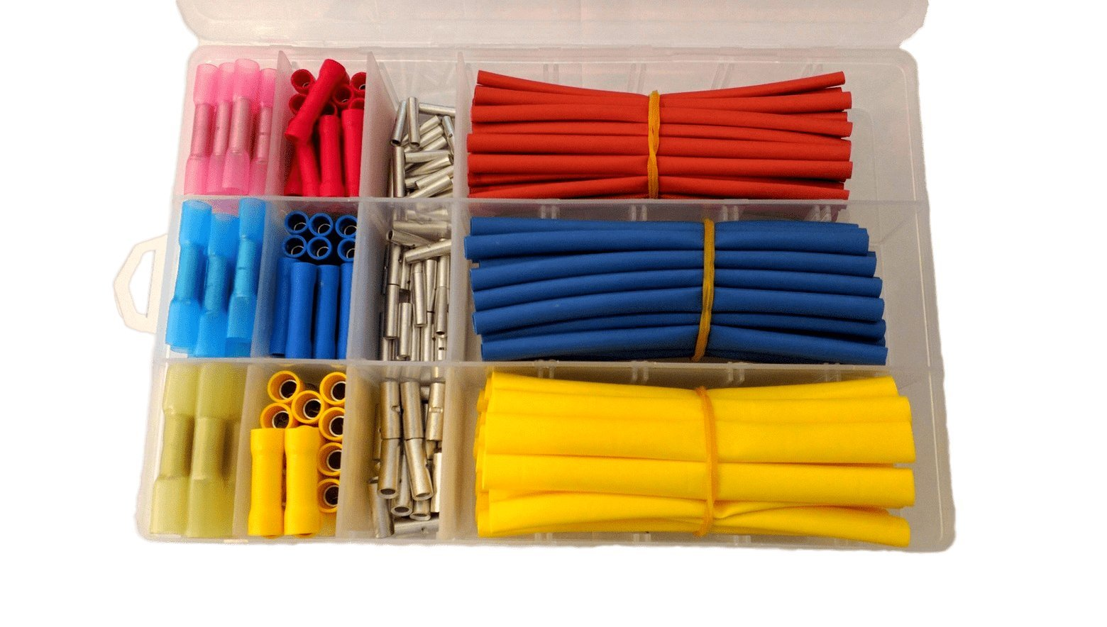 Butt Connector and Heat Shrink Tubing Kit, 270Pcs with Case. Best for Electrical, Marine and Automotive Wire. 165 Butt Connectors and 105Pcs Heat Shrink Tubing