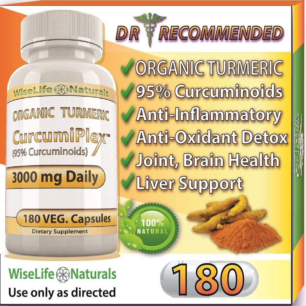 ORGANIC Tumeric Curcumin 3000 mg 180 Veg Capsules 95 Curcuminoids, Support Cardiovascular, Healthy Joints, Pain Supplement w Bioperine Piperine Black Pepper Extract Non Gmo Pills Advanced Absorption