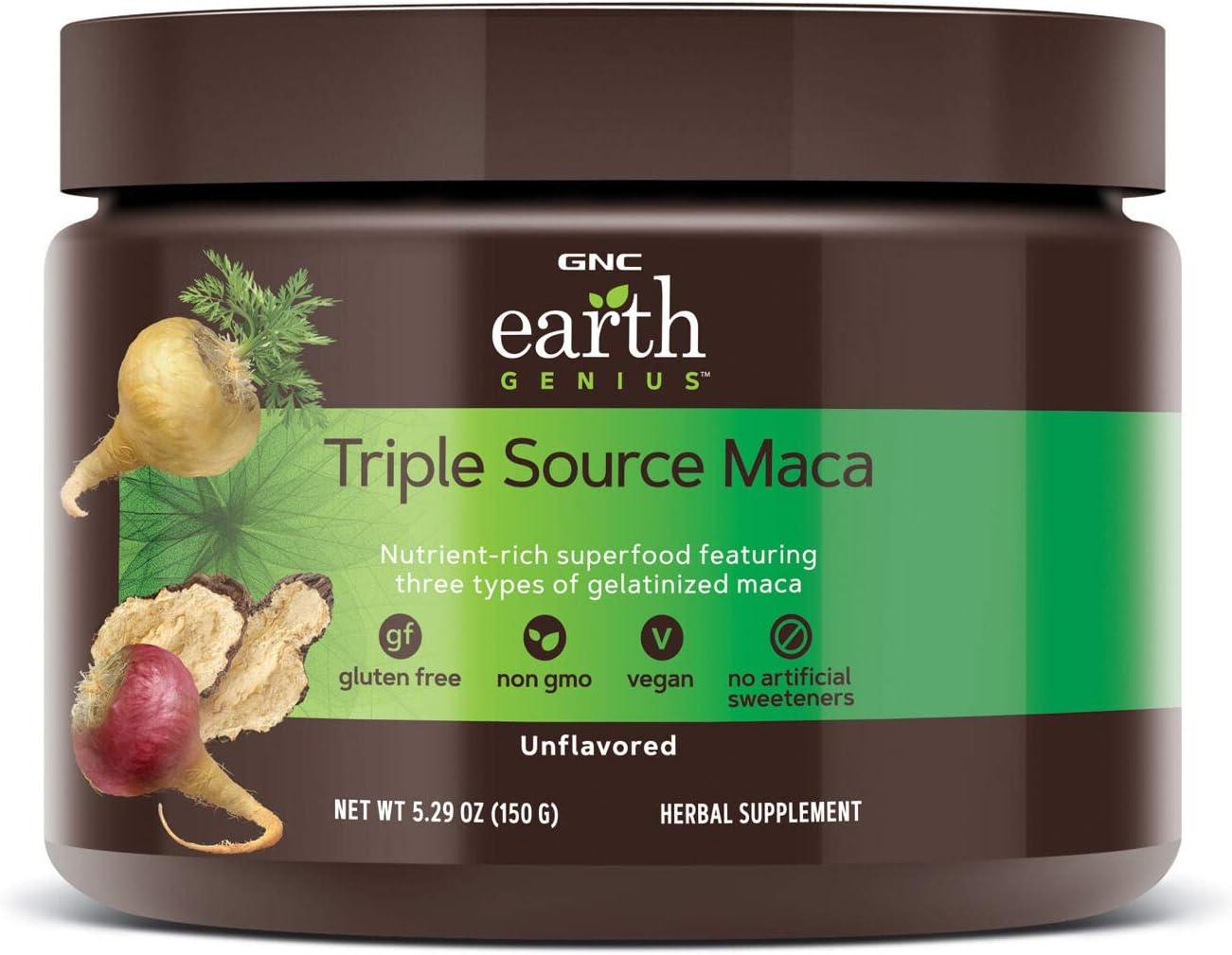 GNC Earth Genius Triple Source Maca - Unflavored, 30 Servings, Nutrient-Rich Superfood