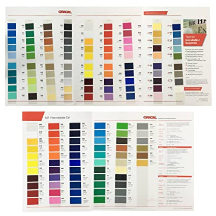 Amazon Oracal 651 And 631 Color Charts Guide Matte Indoor Vinyl