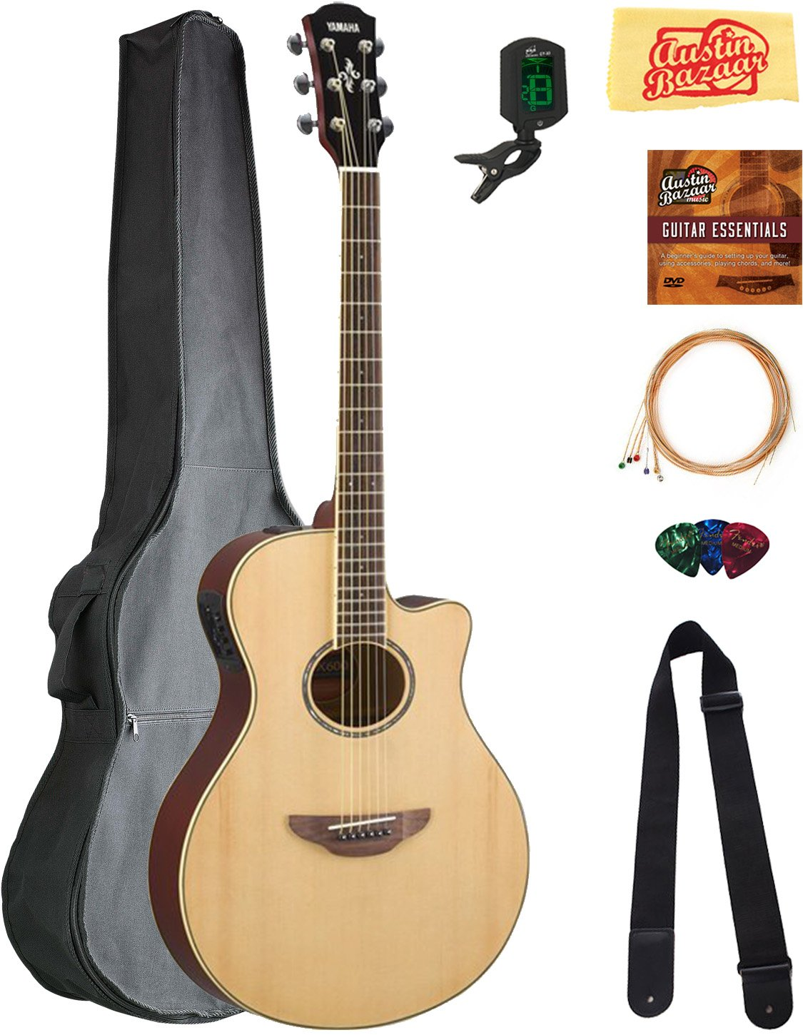 Yamaha APX600 Thin Body Acoustic-Electric Guitar - Natural Bundle with Gig Bag, Tuner, Strings, Strap, Picks, Austin Bazaar Instructional DVD, and Polishing Cloth