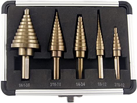 CO-Z 5pcs Hss Cobalt Multiple Hole 50 Sizes Step Drill Bit Set Aluminum Case New