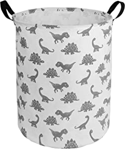 HUAYEE 19.6 Inches Large Laundry Basket Waterproof Round Cotton Linen Collapsible Storage bin with Handles for Hamper,Kids Room,Toy Storage(Dinosaur)