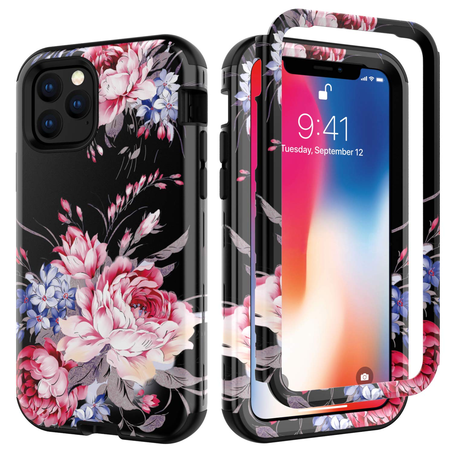 iPhone 11 Pro Case, Ranyi Luxury Floral Flower Pattern Full Body Protection 3 in 1 Hybrid Bumper Shock Absorbing High Impact Heavy Duty Defender Case for Apple 2019 5.8 Inch iPhone 11 Pro (Pink/red) by Ranyi