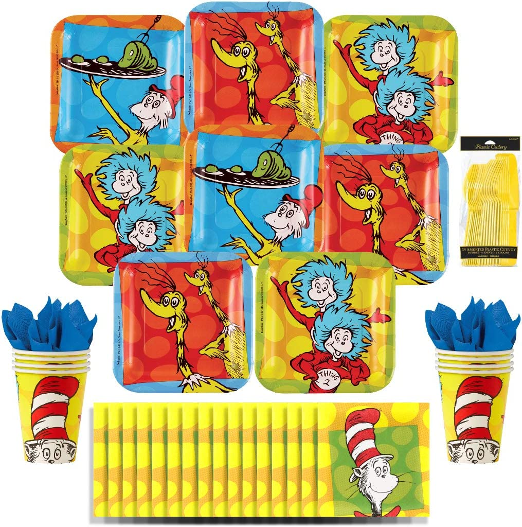 Dr. Seuss Party Pack Seats 8 - Napkins, Plates, Cups, & Cutlery - Party Supplies Decorations, Standard Party Pack
