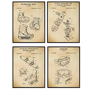 Snowboard Patent Art Prints - Vintage Wall Art Poster Set - Chic Home Decor for Teens or Boys Room, Bedroom, Den, Man Cave, Office, Dorm - Great Gift for Snowboarders, Shredders- 8x10 Photos -Unframed