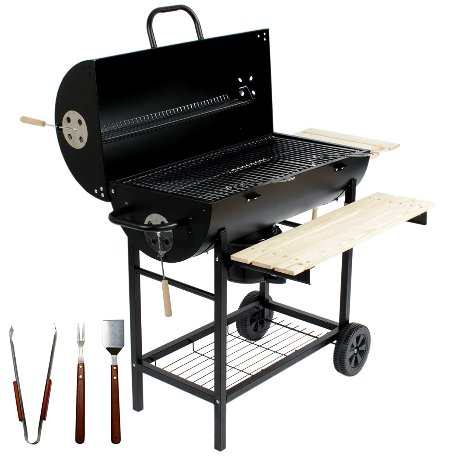 Charles Jacobs Large Charcoal Barrel BBQ with Mini Smoker And Accessories PN1356-BLA