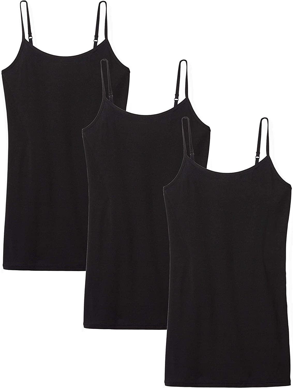 Tommy John Women's Second Skin Camisole - 3 Pack - Stay Tucked Design - Adjustable Lightweight Spaghetti Strap Tank Tops
