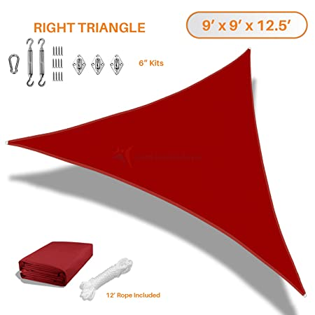 Sunshades Depot 9x9x13 Right Triangle Waterproof Knitted Shade Sail with 6 inch Kit Curved Edge Red 220 GSM UV Block Shade Fabric Pergola Carport Awning Canopy Replacement Awning