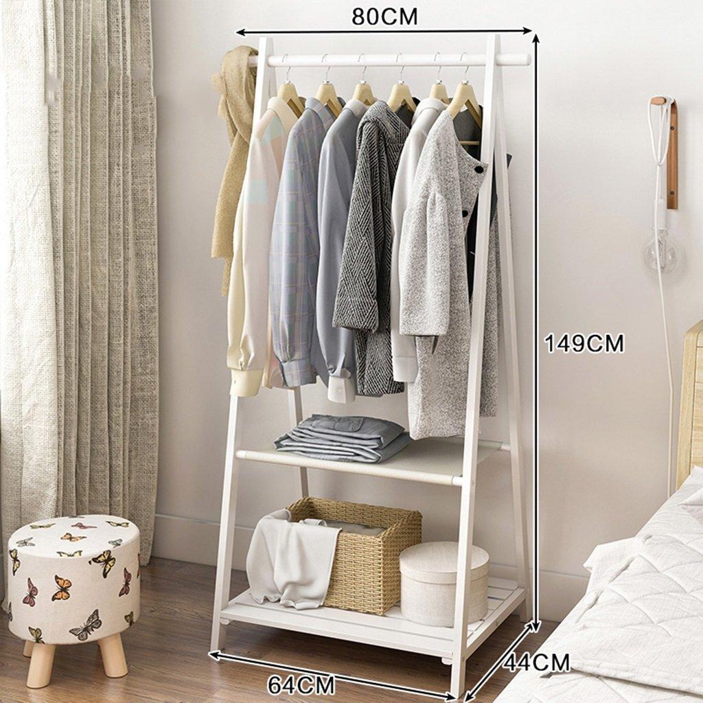 3 GJM Shop Solid Wood Two - Layers Coat Rack Floorstanding Hangers Bedroom Simple and Modern shoes Rack (color   1)