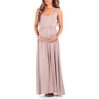 8b291b6b02df2 Women's Sleeveless Ruched Maternity Dress with Pockets - Made in USA Mocha
