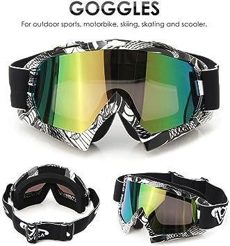 Audew Motorrad Goggle Motocross Wind Staubschutz Fliegerbrille Snowboardbrille Schneebrille Skibrille Wintersport Brille Dirtbike Off Road Schutzbrille Ql036farbig Auto