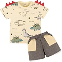 Muama Toddler Baby Boy Summer Clothes Sets Short Sleeve Dinosaur T-Shirt Top and Pants Set Summer Casual Outfits