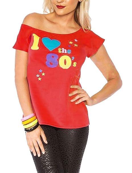 Mujer I LOVE THE AÑOS 80 Camiseta disfraz mujer Pop Star Top Disfraz: Amazon.es: Ropa y accesorios