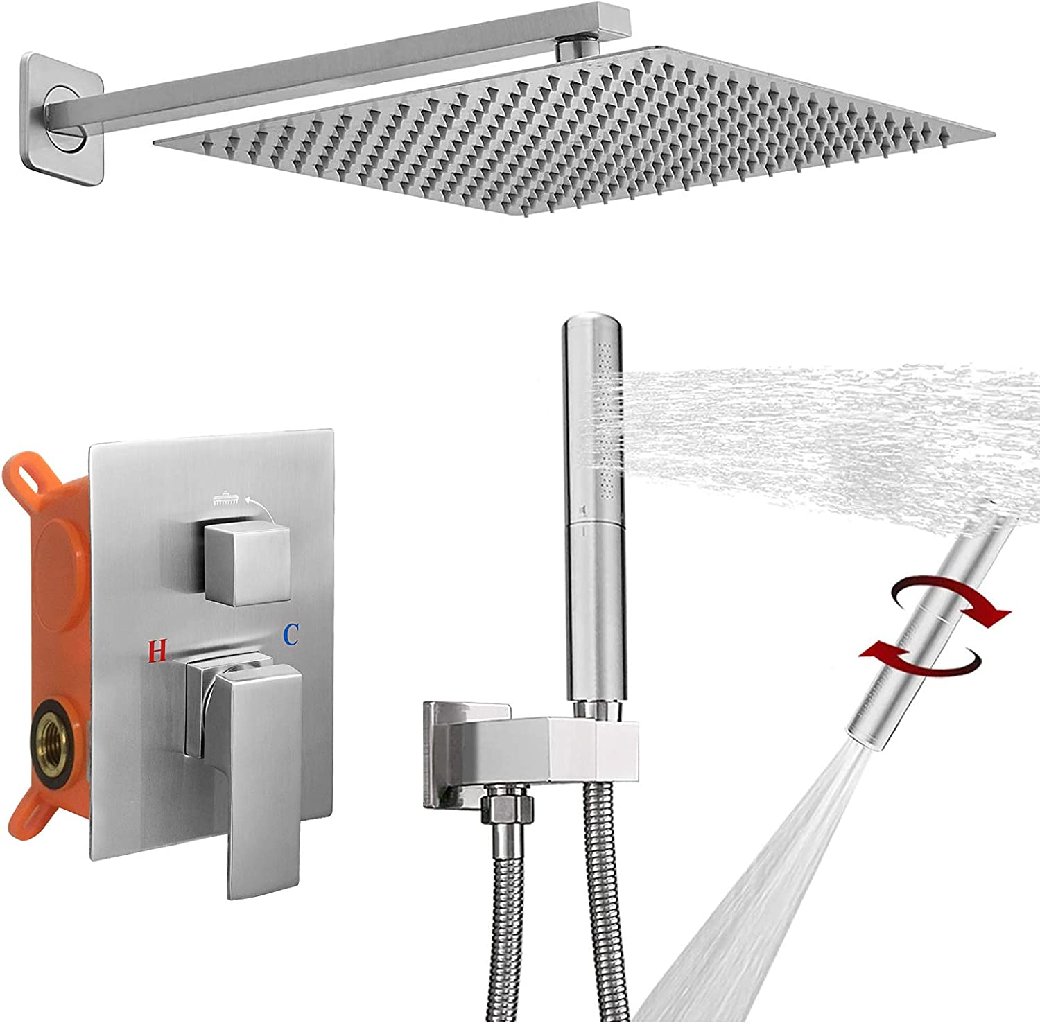 BESy Shower System with 12 Inch Rain Shower Head and Handheld Wall Mounted, High Pressure Rainfall Shower Faucet Fixture Combo Set with 2 in 1 Handheld Showerhead for Bathroom, Brushed Nickel