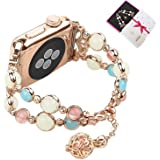 Junwei Noctilucent Watchband Compatible with Apple Watch Band 38mm 40mm, Enticing Women Beaded iWatch Bracelet Wristband Replacement with Night Luminous Pearls and Special Perfume Storage - Rose Gold