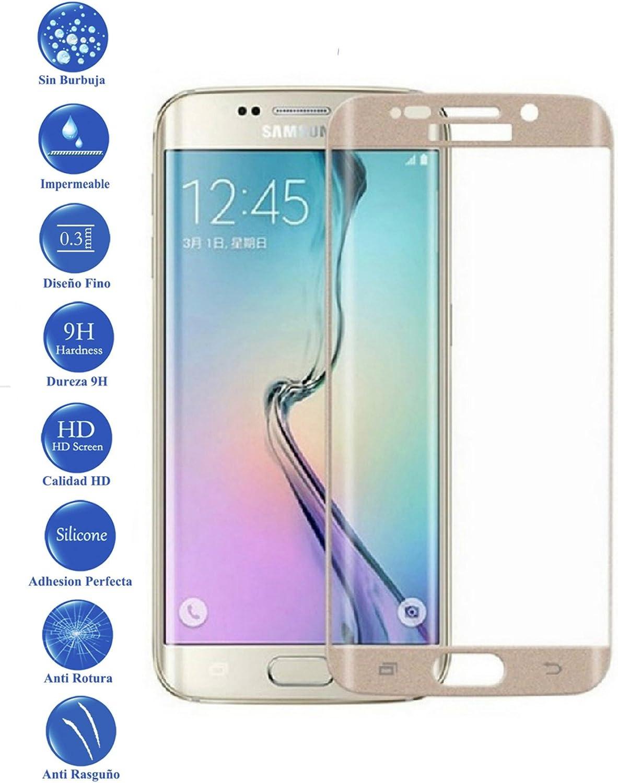 Todotumovil Protector de Pantalla Samsung Galaxy S7 Edge Color Dorado Completo 3D Cristal Templado Vidrio Curvo para movil: Amazon.es: Electrónica