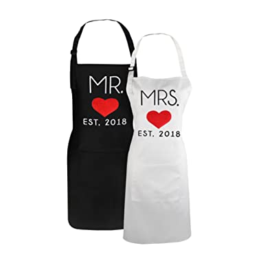Mr. and Mrs. Matching Embroidered Aprons for Newlyweds Couples Grill Aprons Engagement Wedding Gift Set for Hubby and Wifey - 29.5 inch by 24 inch