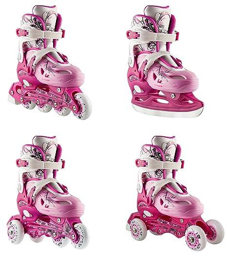 Nils NH0320A – Patines 4 en 1 (línea, ruedas en paralelo, combinado y hielo), color rosa Talla ajustable: 31 a 38.: Amazon.es: Deportes y aire libre