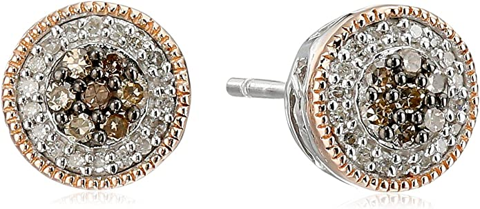 Jewelili 14k Rose Gold Over Sterling Silver Chamange and White Diamond Cluster Stud Earrings 1/4cttw…